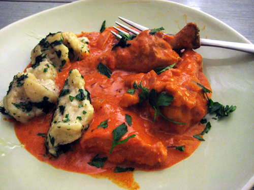 Paprikás Csirke (Chicken Paprikash) with Dumplings / rice and wheat